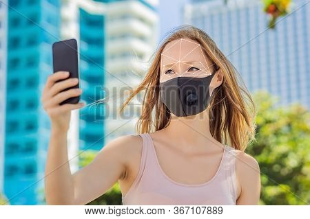 Facial Recognition Grid Overlay. Face Recognition In Medical Mask Using Artificial Intelligence And