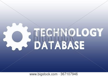 3d Illustration Of Technology Database Text Along With A Gear, Isolated Over Blue Gradient.