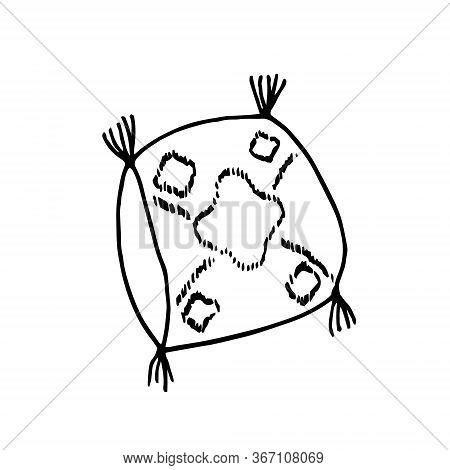 Boho Style Pillow With Tassels. Hand Drawn Doodle. Vector Scandinavian Monochrome Minimalism. Single