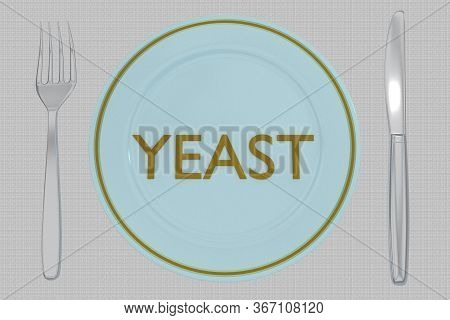 3d Illustration Of Yeast Title On A Pale Blue Plate, Along With Silver Knif And Fork, On A Gray Napk