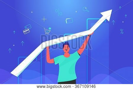Happy Man Holding White Arrow Which Growing Up. Concept Gradient Vector Illustration Of A Guy Taking
