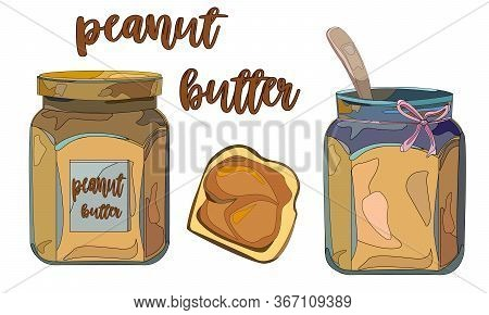 Set Of Elements On The Subject Of Peanut Butter. Illustration Of A Jar Of Peanut Butter,bread And Bu