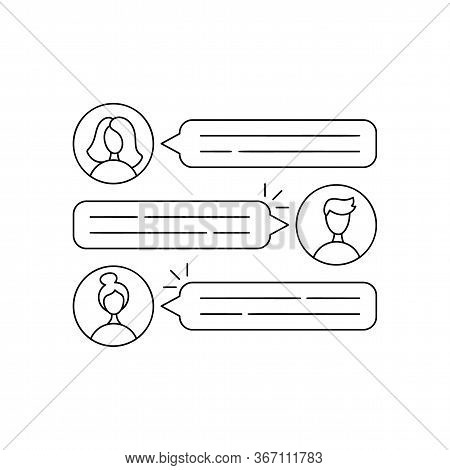 Speech Bubbles Icon For Online Conference Education With Comments Or Message Reply Concept. Flat Vec