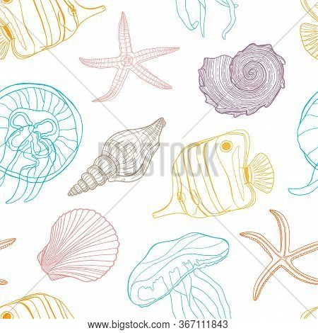 Tropical Fish, Seashell, Jellyfish And Starfish Vector Seamless Pattern. Hand Drawn Underwater Botto