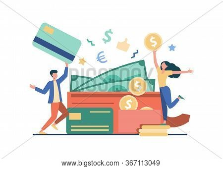 Happy Tiny Man And Woman With Big Open Wallet Flat Vector Illustration. Isolated Young Guy Holding P