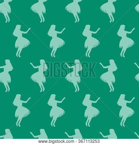 Seamless Vector Pattern Hula Dancer Silhouettes Green And Turquoise. Hawaiian Women Dancing Traditio