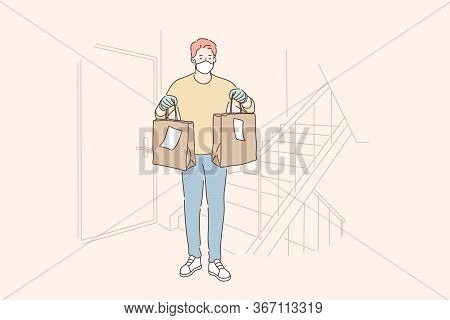 Delivery, Quarantine, Covid19, Coronavirus, Infection Concept. Young Man Boy Supplier Cartoon Charac