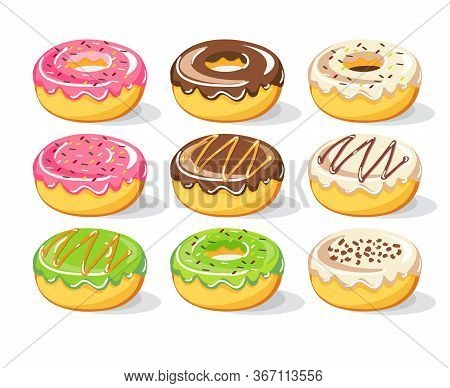 Sweet Donuts Vector Set Collection, Vector Illustration