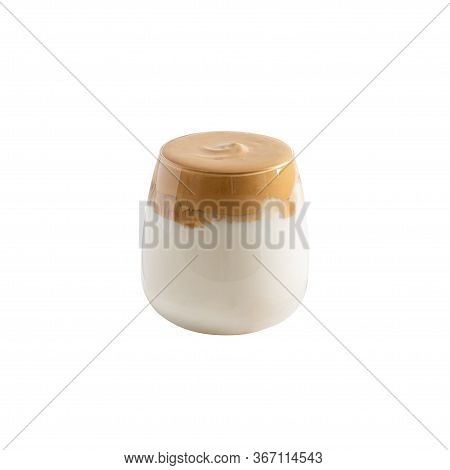 Trendy Dalgona Coffee In A Glass With Whipped Foam Isolated On White Background. Iced Whipped Coffee