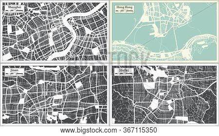 Hong Kong, Jinan, Hefei and Shanghai China City Maps Set in Retro Style. Outline Map.