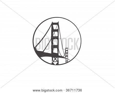 Vector line drawing of the Golden Gate Bridge San Francisco California formatted within a circle
