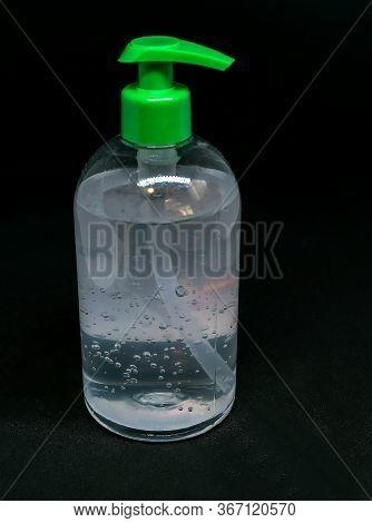 Transparent White Plastic Botle Of Antibacterial Sanitizer Fluid