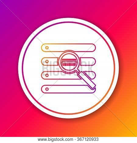 Color Line Search In A Browser Window Icon Isolated On Color Background. Circle White Button. Vector
