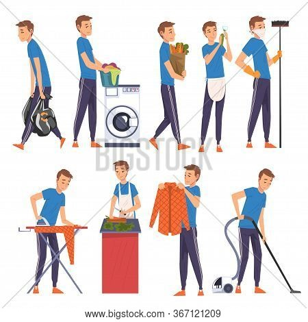 Young Man Cleaning, Vacuuming, Doing Shopping, Cooking, Housekeeping, Everyday Duties And Chores Car
