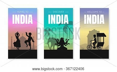 Welcome And Discover India Card Templates Set With Silhouettes Of People And Famous Cultural Symbols