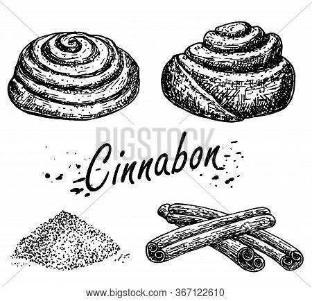 Bakery Products. Cinnamon Roll Sketch. Cinnabon Bun. Hand Drawn Sketch Of Sweet Cinnamon Roll. Loaf