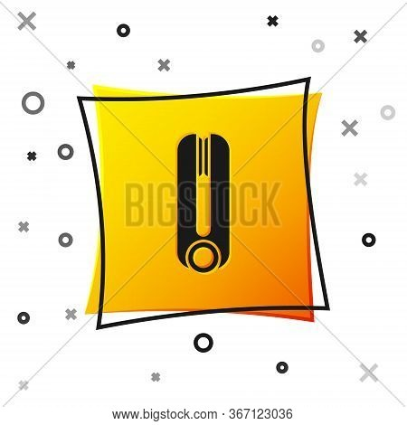 Black Curling Iron For Hair Icon Isolated On White Background. Hair Straightener Icon. Yellow Square