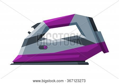 Modern Wireless Iron Household Appliance, Ironing Clothes Device Vector Illustration