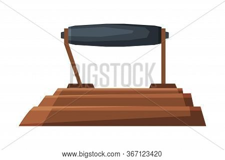 Old Iron Household Appliance, Vintage Ironing Equipment, Side View Vector Illustration