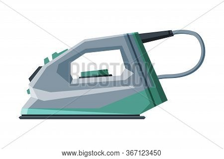 Electric Steam Iron, Household Appliance, Ironing Clothes Device Vector Illustration