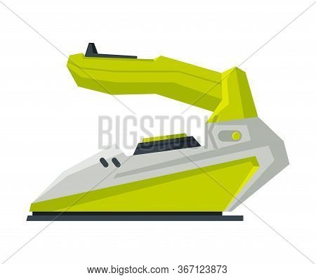 Modern Wireless Iron, Electric Household Appliance, Ironing Clothes Device Vector Illustration