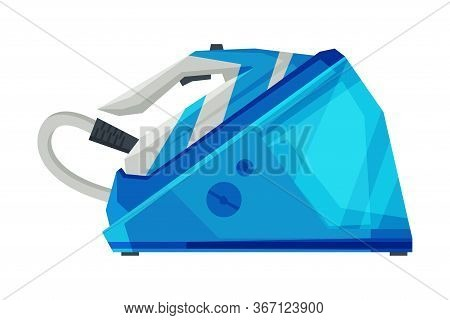Modern Electric Steam Iron Household Appliance, Ironing Clothes Device Vector Illustration