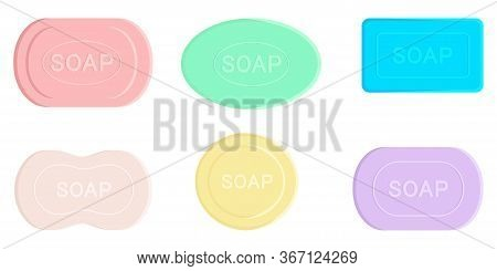 Colored Soap Set. Soaps Of Various Shapes. Different Bars Of Soap With Various Aromas. Organic Soap.