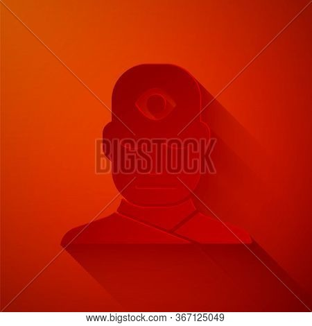 Paper Cut Man With Third Eye Icon Isolated On Red Background. The Concept Of Meditation, Vision Of E