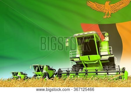 Industrial 3d Illustration Of Green Rural Agricultural Combine Harvester On Field With Zambia Flag B