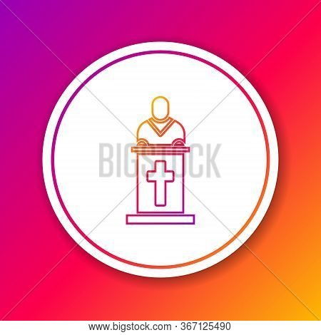 Color Line Church Pastor Preaching Icon Isolated On Color Background. Circle White Button. Vector