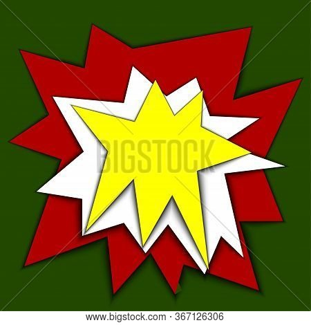 Paper Cut Bang. Vector Stock Illustration Stylized Explosion Or Salute. Cartoon Image Of An Explosio