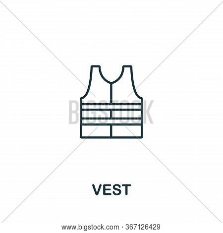 Vest Icon From Work Safety Collection. Simple Line Element Vest Symbol For Templates, Web Design And