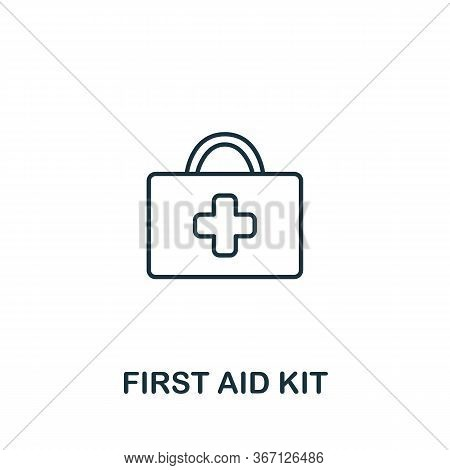 First Aid Kit Icon From Work Safety Collection. Simple Line Element First Aid Kit Symbol For Templat