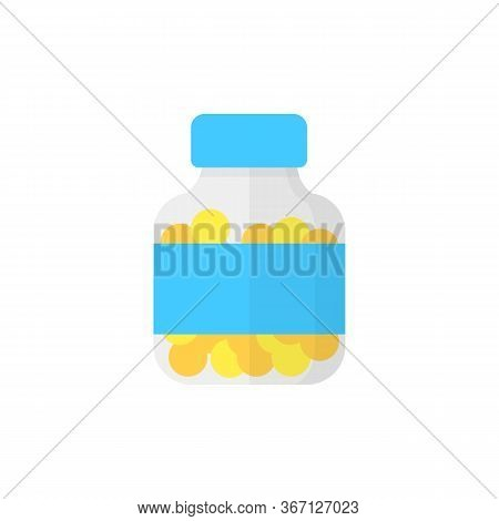 Transparent Pill Bottle Illustration. Jar, Label, Medication. Medicine Concept. Can Be Used For Topi