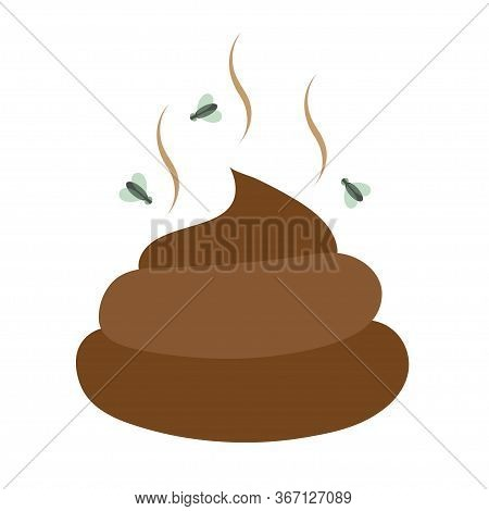 Flat Icon Excrement. Feces Images. Poop. Modern Vector Illustration For Web And Mobile. Fly Around E