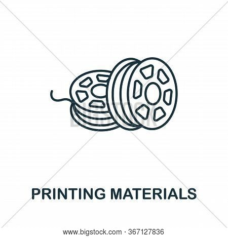 Printing Materials Icon From 3d Printing Collection. Simple Line Printing Materials Icon For Templat