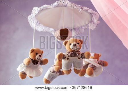 Baby Music Mobile Carousel With Little Bears. Toy Carousel, Above The Baby Bed. Baby Bedroom Close U