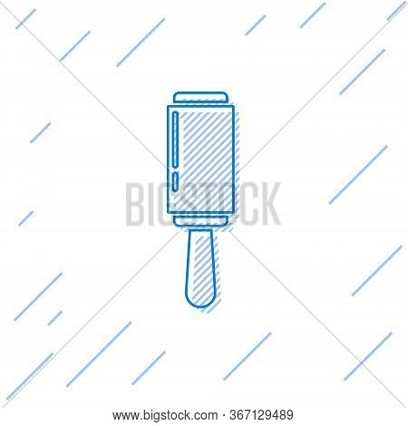 Blue Line Adhesive Roller For Cleaning Clothes Icon Isolated On White Background. Getting Rid Of Deb