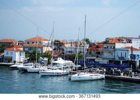 Keramoti, Greece - August 21, 2017: Yacht's In Keramoti Harbour On A Beautiful Summer Days