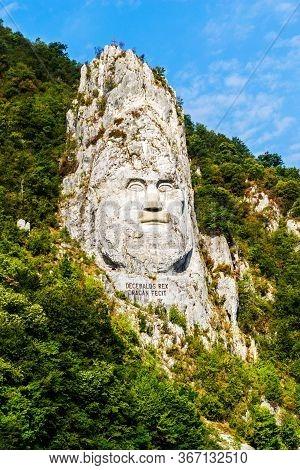 Cazanele Dunarii, Romania - September 08, 2019: The Face Of The Dacian King Decebal Is A 55 M High B