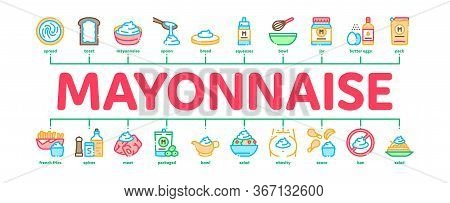 Mayonnaise Sauce Minimal Infographic Web Banner Vector. Mayonnaise Bottle And Preparing In Bowl With