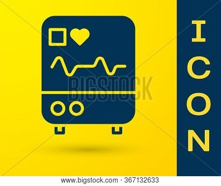 Blue Computer Monitor With Cardiogram Icon Isolated On Yellow Background. Monitoring Icon. Ecg Monit