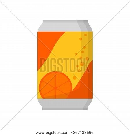 Orange Soda Can Illustration. Drink, Soda, Market Place. Food Concept. Illustration Can Be Used For