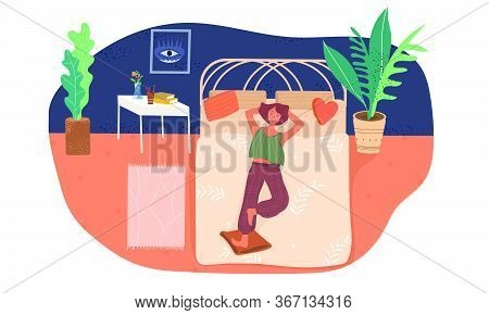 Girl Lies On The Bed And Relaxes Vector Flat Illustration. Rest At Home. The Teenager In The Bedroom