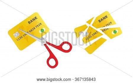 Cutting Up Credit Card With Scissors. Scissors Cutting Old Credit Card.