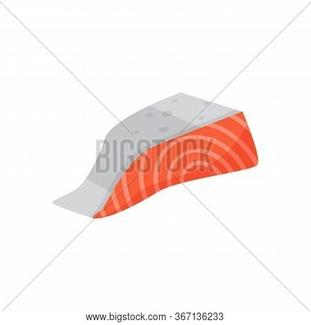Salmon Fillet Illustration. Fish, Trout, Raw Food. Food Concept. Can Be Used For Topics Like Fish Ma