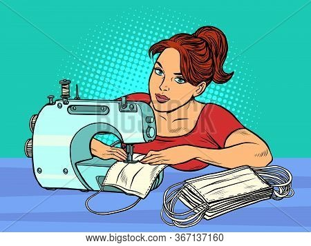 A Woman Sews Medical Masks. Clothing Manufacture. Pop Art Retro Vector Illustration 50s 60s Style