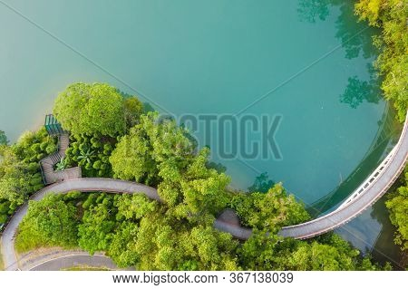 landscape of path over water in aerial view at Sun Moon Lake, Nantou, Taiwan