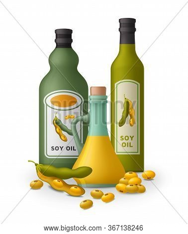 Soy Oil And Soy Beans Background. Vector Illustration.