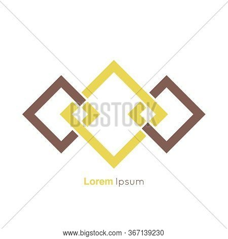 Infinite Square Rhombus Looped Symbol. Abstract Vector Logo Design Template.